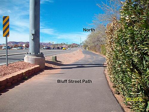 Bluff Street Path Bluff Street Path Start to the north from Diagonal St/Bluff St