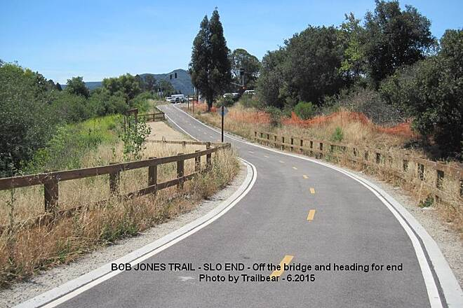 Bob Jones City to the Sea Trail BOB JONES TRAIL - AT S.L.O. Ahead is the end of the Class 1 trail at the intersection.  Pick up the bike lane to the south to the Johnson Ranch parking area.  There you share the frontage road down to the upper trail head of the Avila Beach portion of the trail.