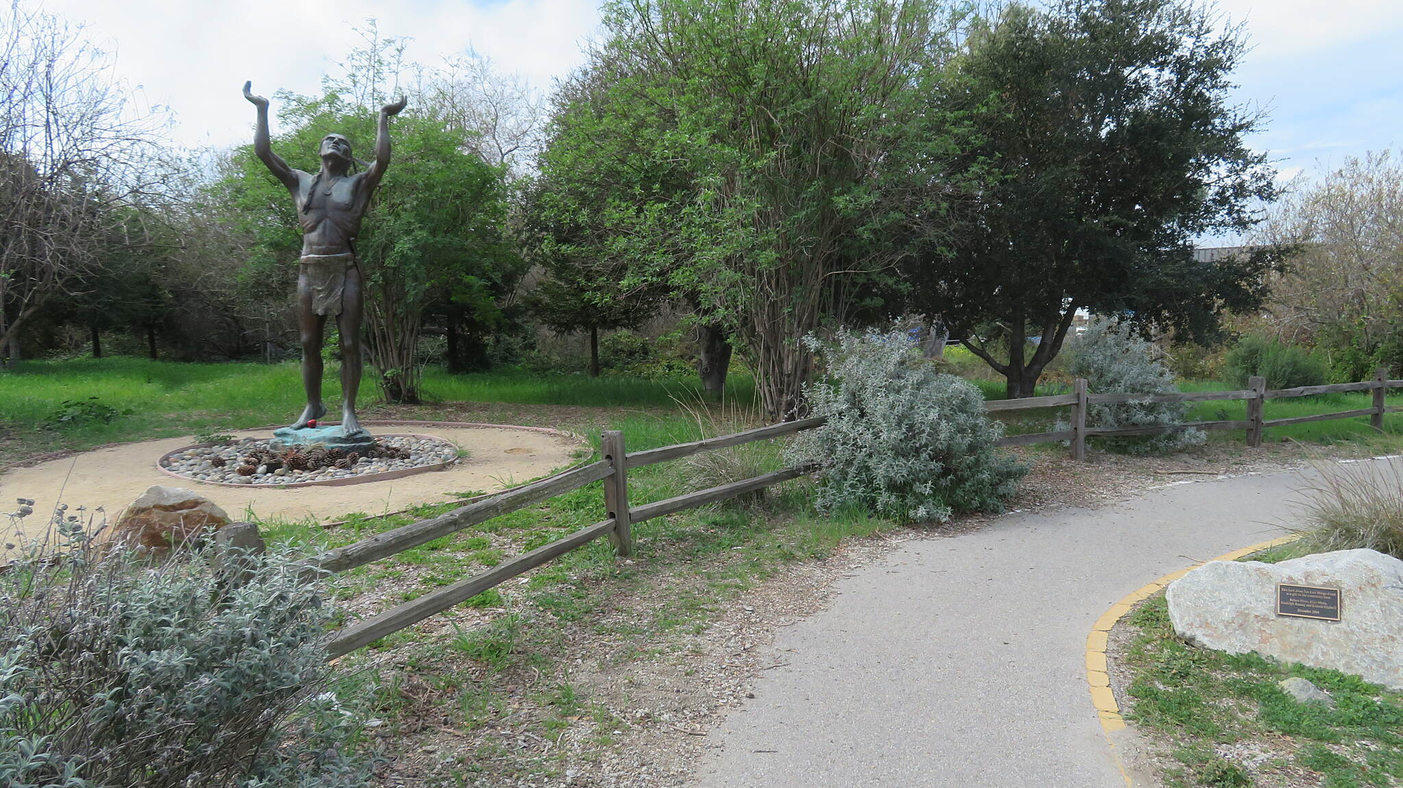 Bob Jones City to the Sea Trail Bob Jones City to the Sea Trail - SLO  'Oh Great Spirit' statue at start of trail.