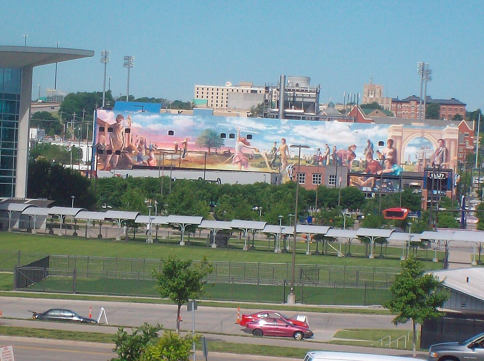 Bob Kerrey Pedestrian Bridge Stadium Mural Taken from Bridge 17 Jun 13 By Noel Keller
