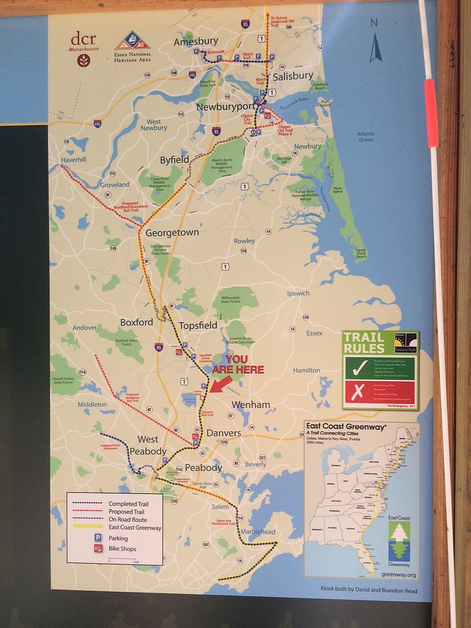 Border to Boston Trail DCR Trailside Map  DCR map located near start of Topsfield Linear Common shows Danvers, Wenham and Topsfield sections of trail.