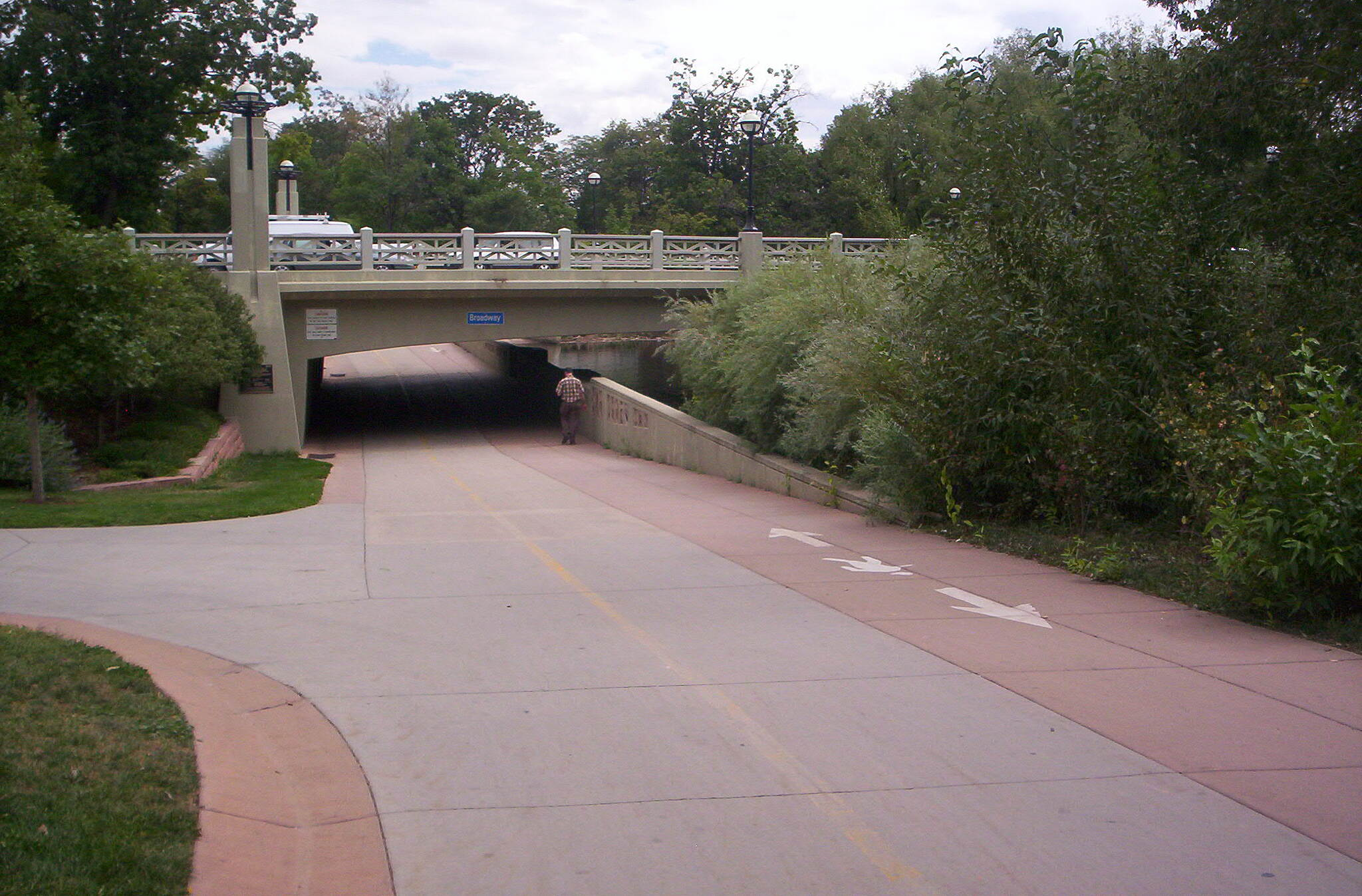 Boulder Creek Path Broadway Underpass at Broadway. As you can see, the path is wide with a separate lane for joggers. Boulder Creek is alongside the whole way. Even though it runs through the city, every crossroad has an underpass.