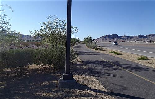 Boulder Highway Trail Boulder Highway Trail - Henderson, NV. Looking south aong trail from Clark County Museum entry