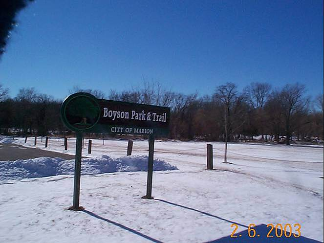 Boyson Trail Boyson Park Trail Sign Photo provided by David N. Hockett.