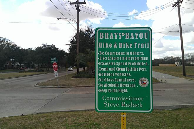 Brays Bayou Greenway Trail Brays Bayou Trail Sign