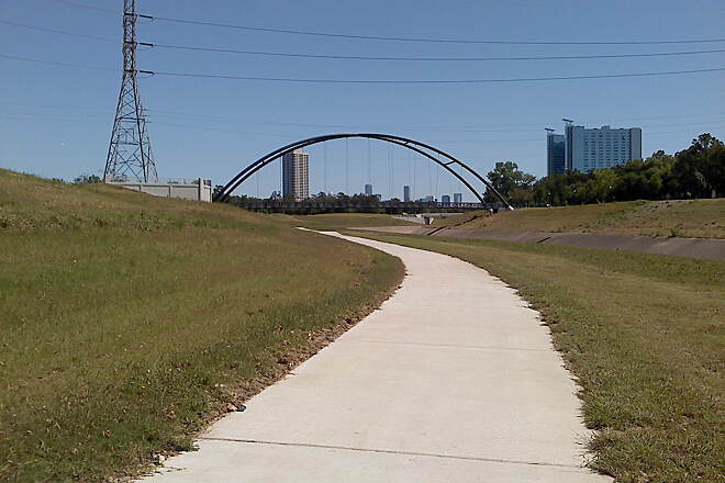 Brays Bayou Greenway Trail Walking bridge across the Brays Bayou Hike and Bike trail Walking bridge across the Brays Bayou Hike and Bike trail near Hermann Park.