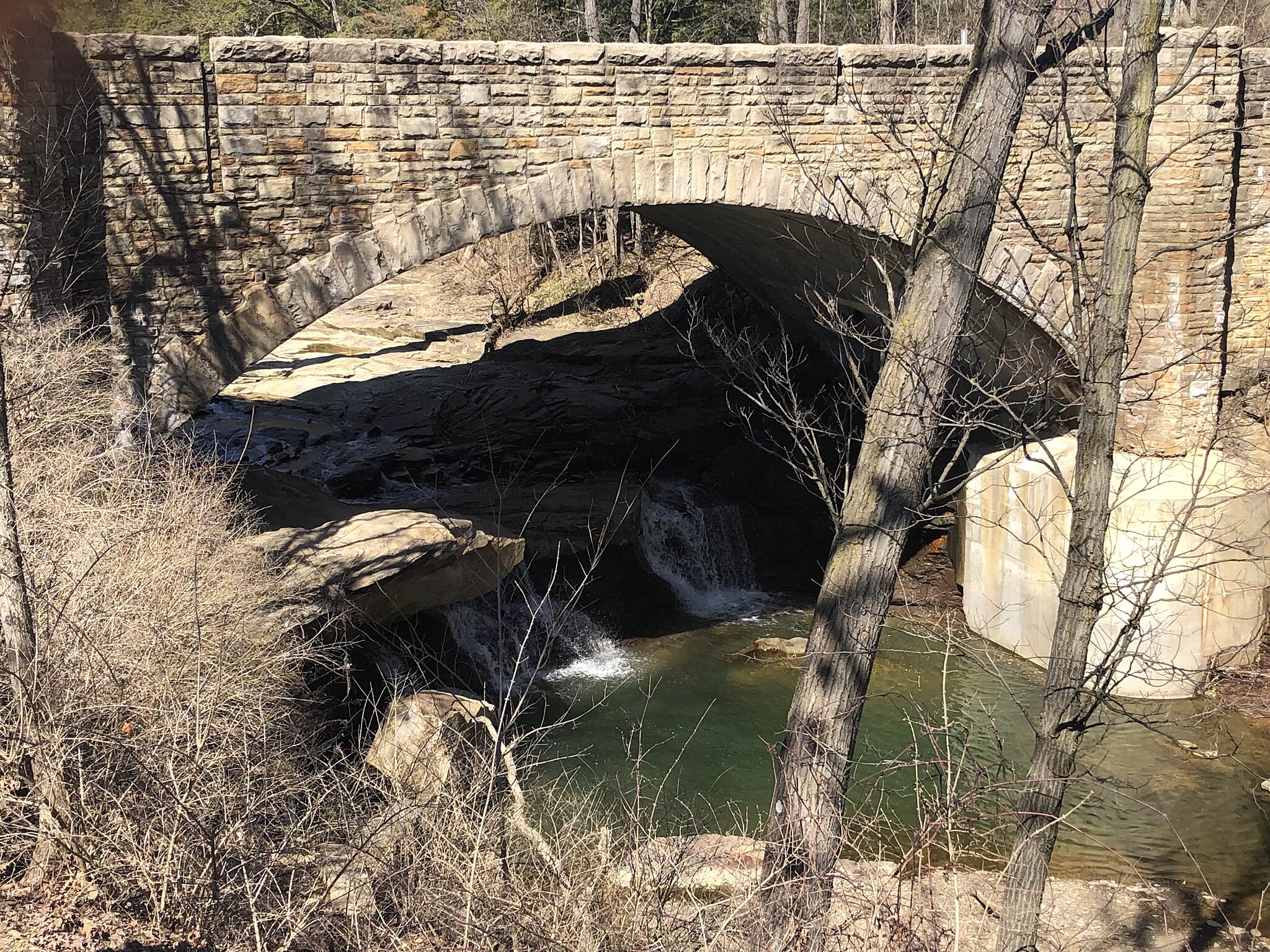 Brecksville Reservation All Purpose Trail Chippewa Road (Ohio Rt. 82) Bridge From a scenic overlook you can view the Chippewa Creek Gorge as it passes under State Route 82 in Brecksville, Ohio.  March 27, 2019.