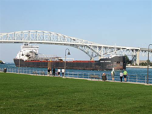 Bridge to Bay Trail Freighter in St Clair River near Port Huron, Michigan