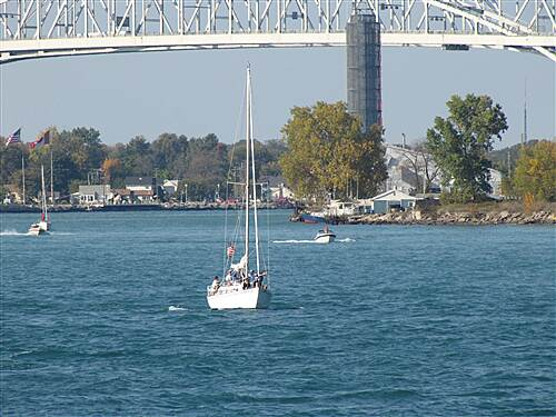 Bridge to Bay Trail Sailboat under Bleu Water Bridges near Port Huron, Michigan