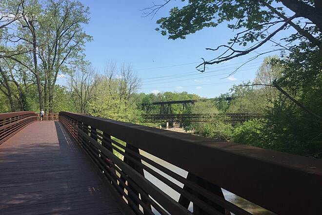 Bridgeway Trail Over and Back The trail crosses over the Black River and then back between the Burr Oak and Day's Dam trailheads in the Black River Reservation of the Lorain County Metroparks.  May 16, 2017.