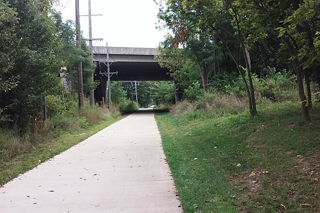 Brighton East Rail Trail Aug 2015 Eastbound, going under I-75