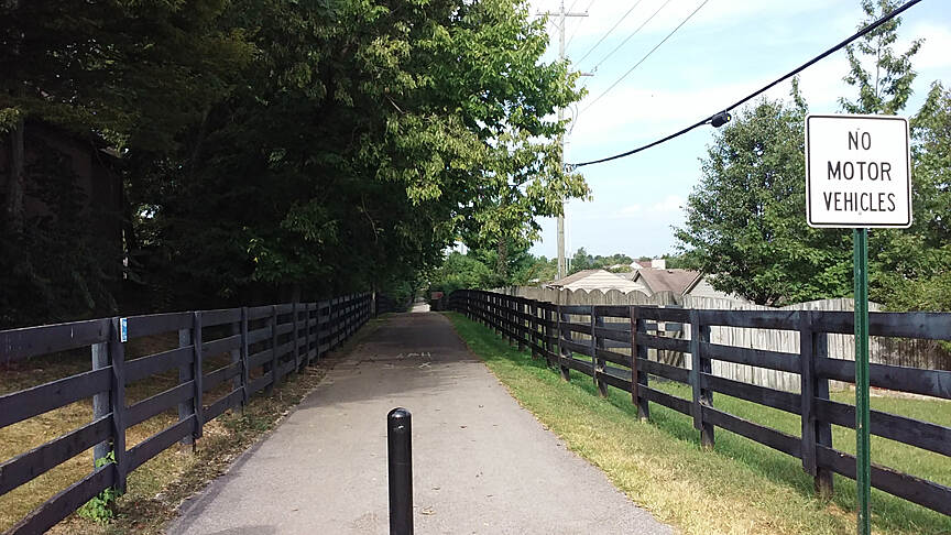 Brighton East Rail Trail Aug 2015 Westbound from Pleasant Ridge Dr surface is asphalt