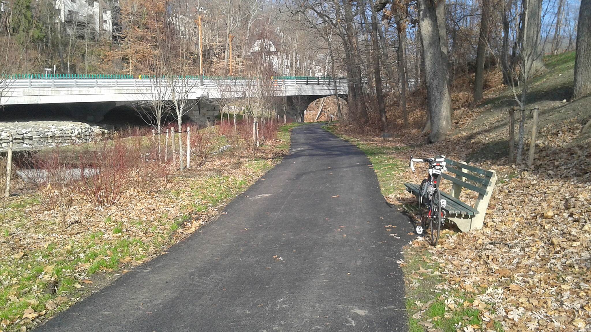 Bronx River Greenway Scarsdale  New section looking North at Crane Road Bridge looks great but just north of the bridge is still un-bikeable