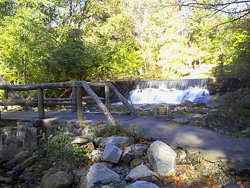 Bronx River Greenway Waterfall and Wooden Bridge south of Scarsdale Waterfall and Wooden Bridge south of Scarsdale