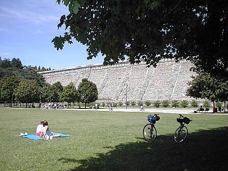 Bronx River Greenway Bronx River Pathway Bicyclists enjoying the expansive grassy area just south of the Kensico Dam.