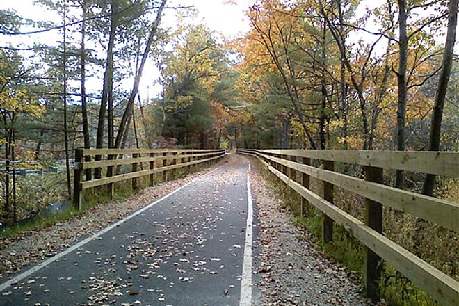 Bruce Freeman Rail Trail Trail running parallel with Rt 27 near Sleigh Rd in Chelmsford