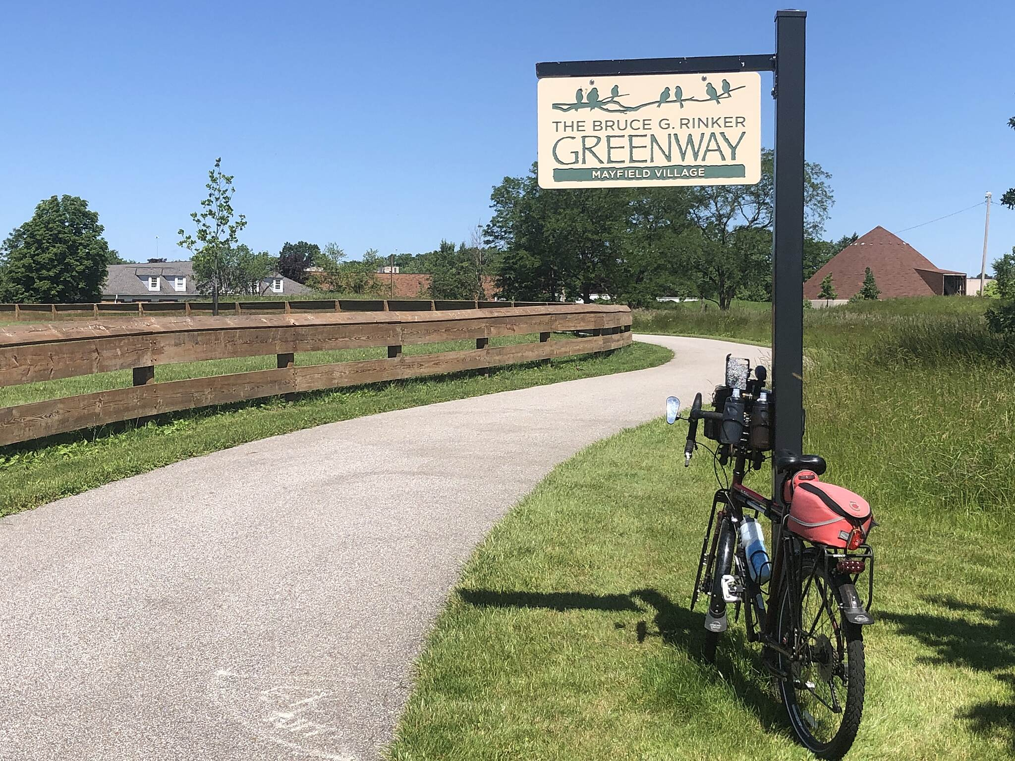 Bruce G. Rinker Greenway Northern Exposure Bike and trail sign heading north from the First Responders Memorial Trailhead next to the Fire Department in Mayfield Village, Ohio.  June 2019.