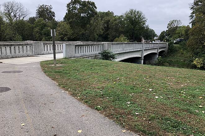 Buck Creek Trail (OH) Sherman Avenue Concrete Arch Bridge The bridge was first opened in 1908 and received a major renovation in 1952. The trail passes over the bridge in it's own protected lane then turns to the left once over the bridge.