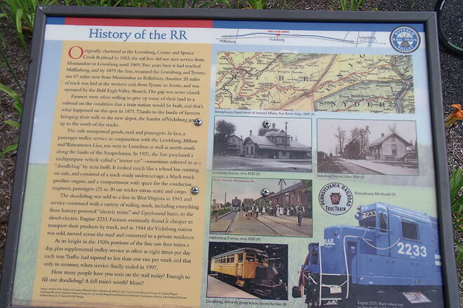 Buffalo Valley Rail Trail Trail Railroad History Beautiful historical plaques are located at Mifflinburg, Vicksburg, and Lewisburg.