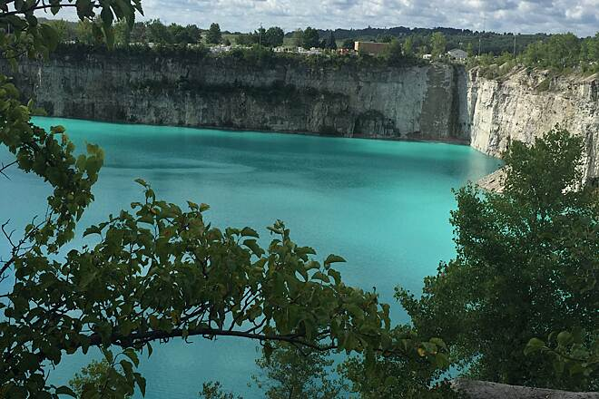Bugline Trail Beautiful Quarry! I biked the Bug Line for the first time.  I was in awe of this quarry and its Caribbean-like color!