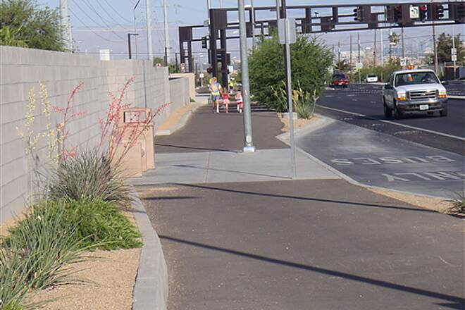 Burkholder Trail Burkholder Trail, Henderson, NV. Looking west along trail provides safe route to school for kids