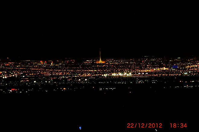 Burkholder Trail Las Vegas Strip at Night Las Vegas Strip at night viewed from Burkholder Trail where it meets the River Mountain Loop Trail by the SNWA Plant