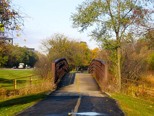Busse Woods Trail  Trail bridge over Salt Creek.