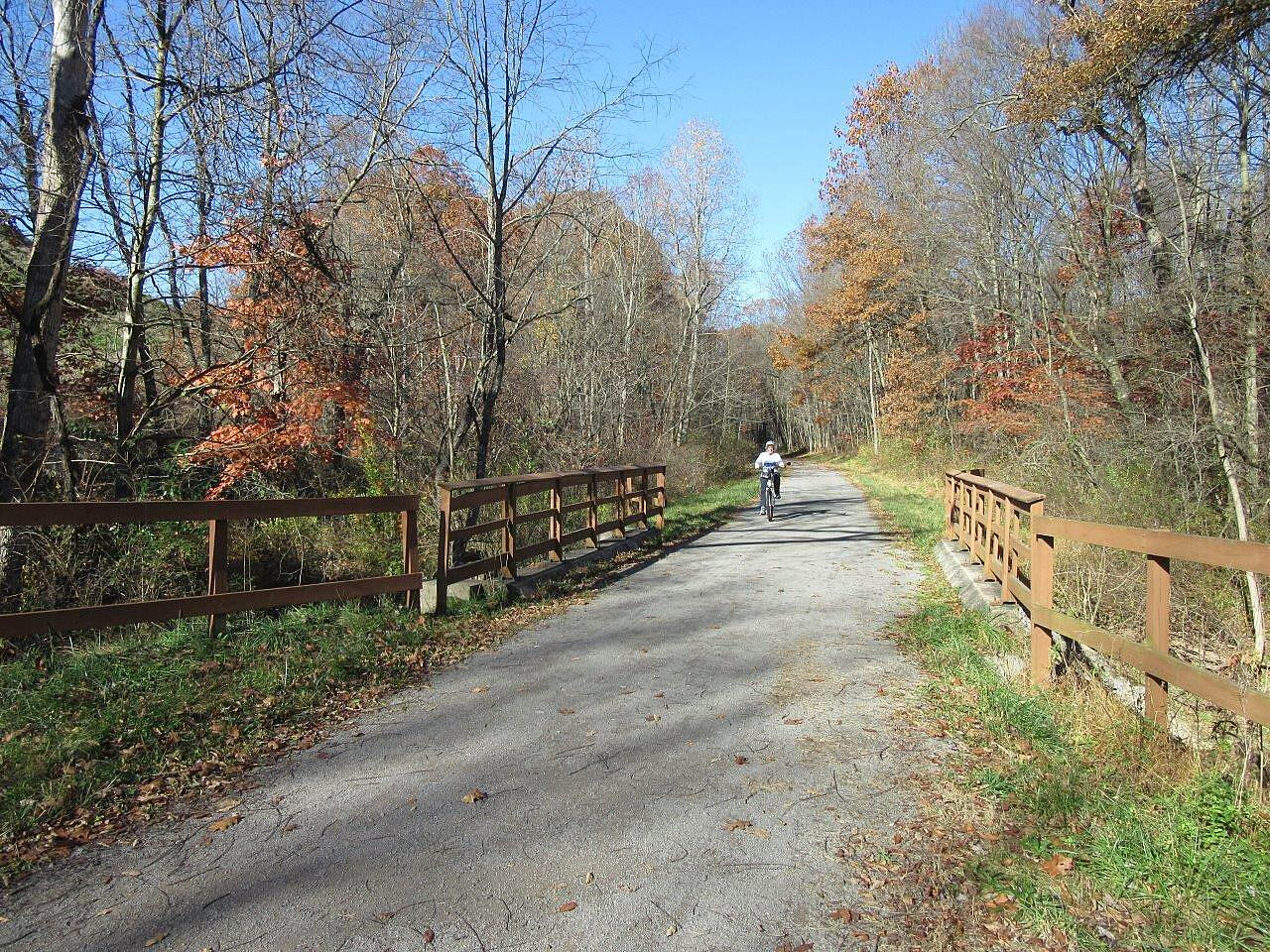 Butler-Freeport Community Trail Along the trail A biker enjoys the beautiful fall day