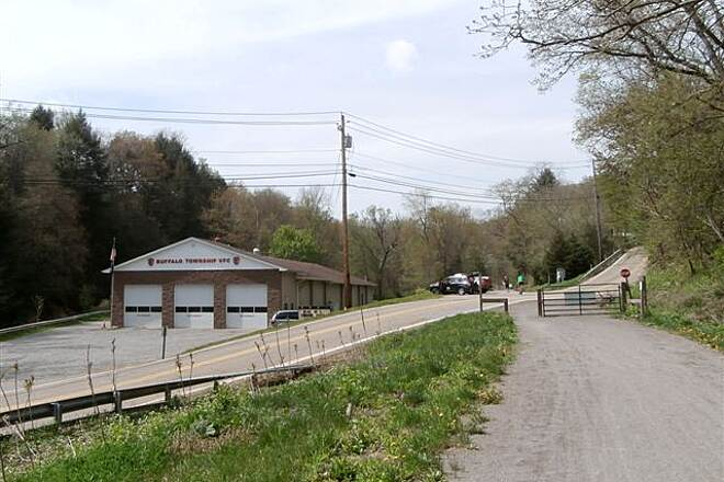 Butler-Freeport Community Trail Buffalo Twp Buffalo Twp VFD-Parking area and portable johns, May 2014