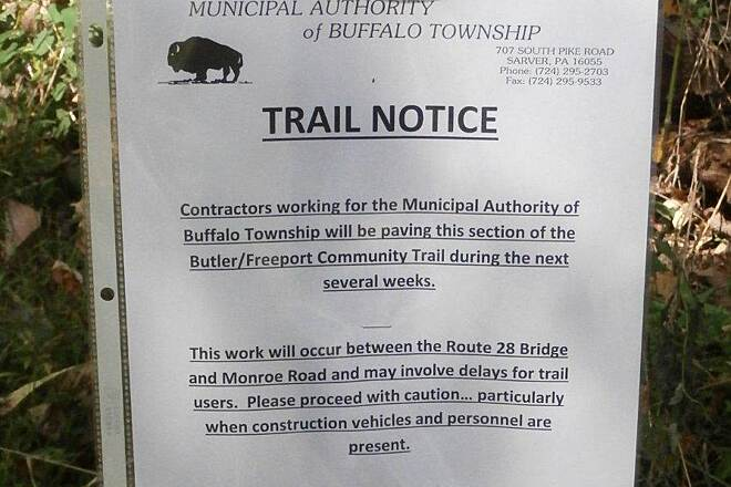 Butler-Freeport Community Trail Paving Sign Apparently they are going to pave a section near the water treatment place