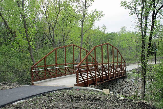 Cal-Sag Trail Under construction in Palos Pk Near 86th Avenue in Palos Park--west of this bridge is still gravel as of May 10, 2015