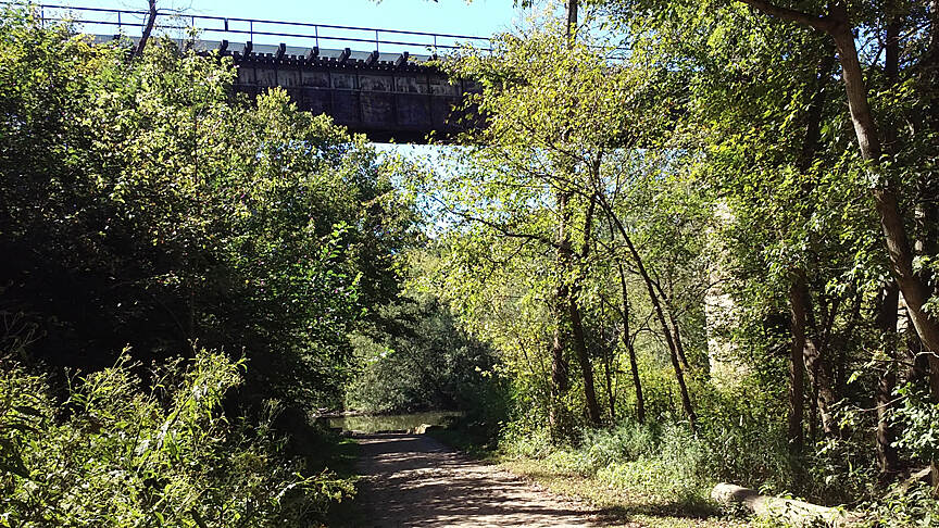Camp Chase Trail Sept 2015 Eastbound, RR bridge over Big Darby Creek and the Camp Chase Trail