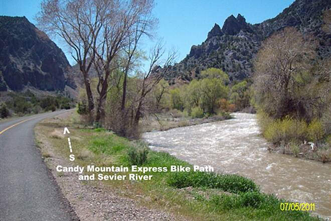 Candy Mountain Express Bike Trail Candy Mountain Express Bike Trail   In the canyon along the north flowing Sevier River