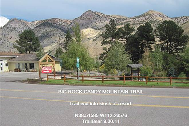 Candy Mountain Express Bike Trail BIG ROCK CANDY MOUNTAIN TRAIL Trail end info kiosk across the highway.  No parking there.