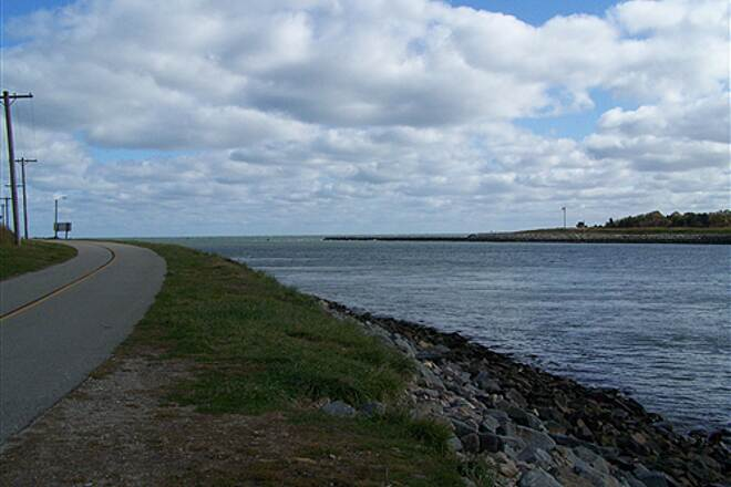 Cape Cod Canal Bikeway Ocean View Approaching end of trail