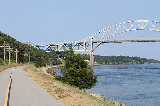 Cape Cod Canal Bikeway Cape Cod Canal Bikeway coming up Rt. 6 bridge