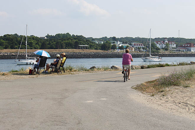Cape Cod Canal Bikeway Cape Cod Canal Bikeway headed west from Cape Cod Bay