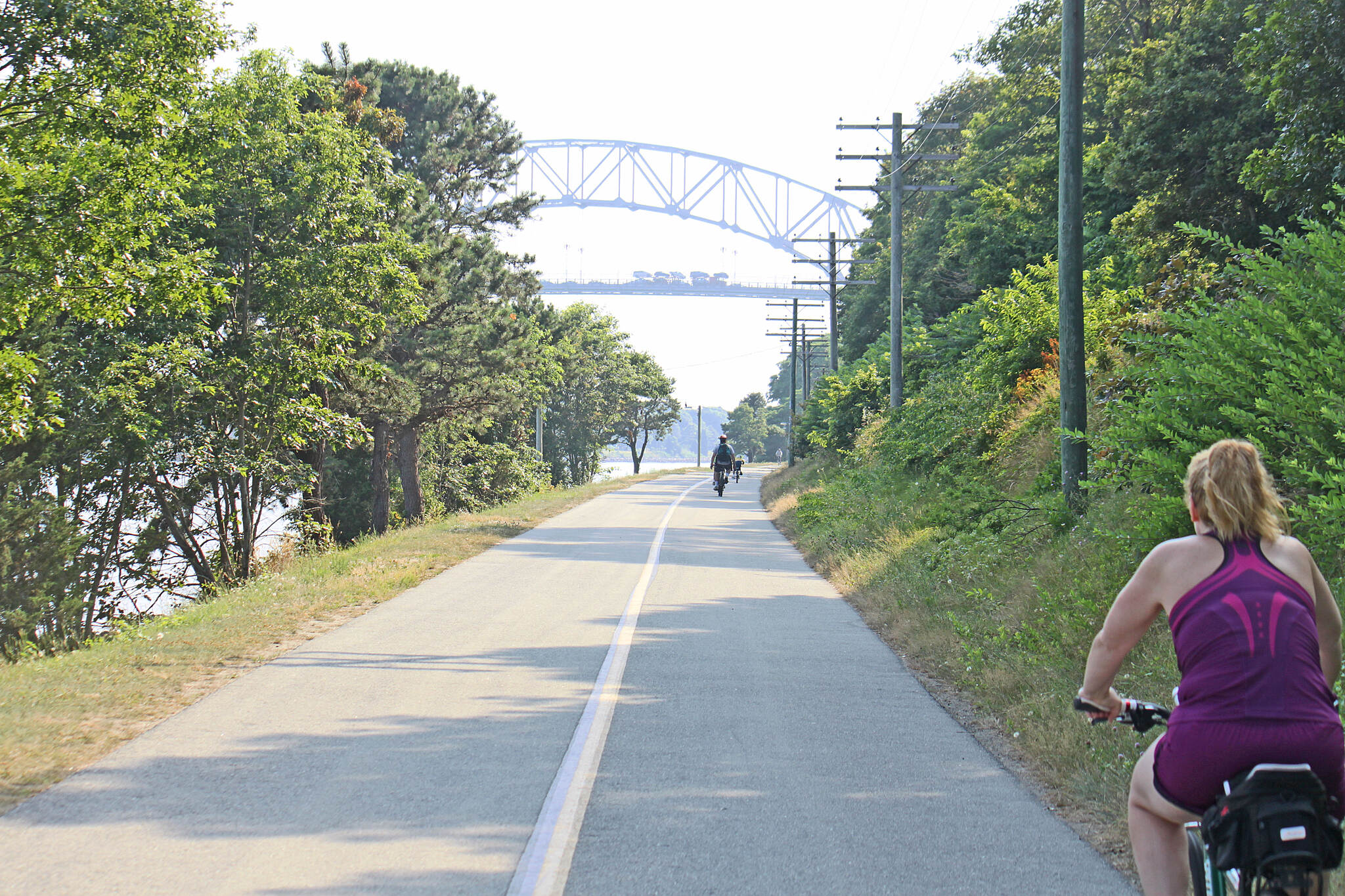 Cape Cod Canal Bikeway Cape Cod Canal Bikeway headed west toward Buzzard's Bay