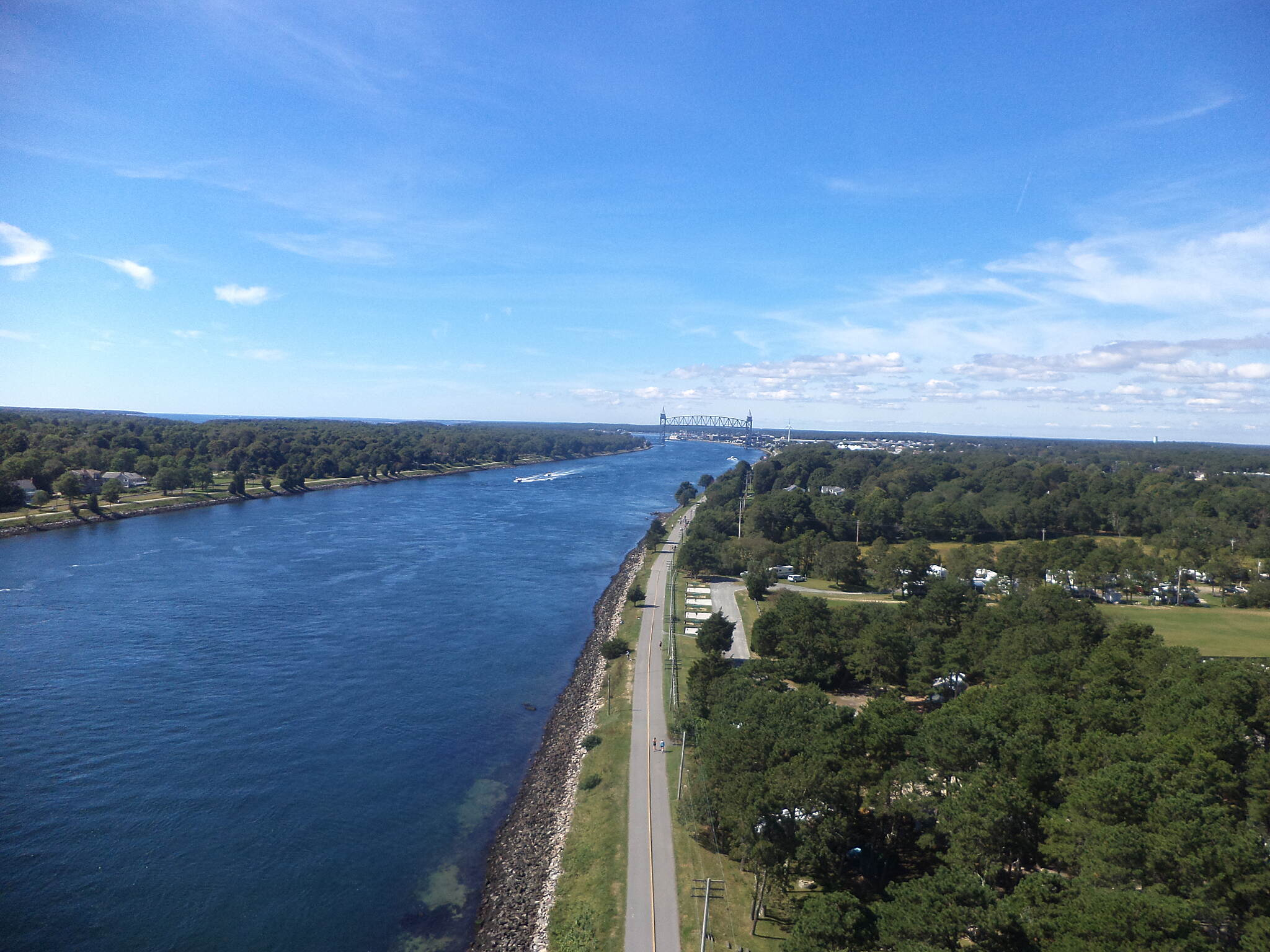 Cape Cod Canal Bikeway Cape Cod Canal  Taken from the apex of the Bourne Bridge.