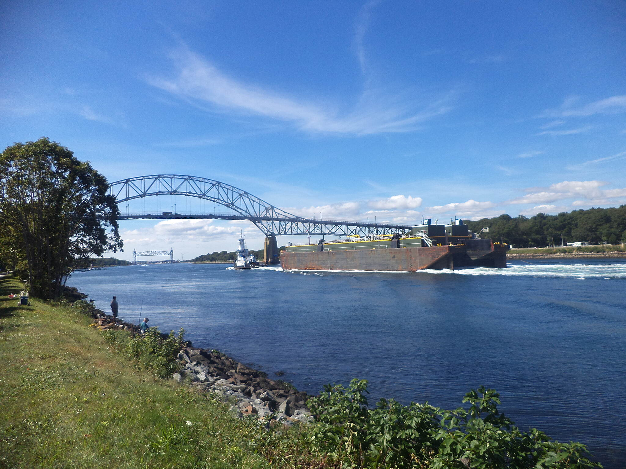 Cape Cod Canal Bikeway Cape Cod Canal Barge making it's way to the Atlantic near Mass Maritime Academy