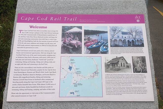 Cape Cod Rail Trail South Dennis, MA Plaque at the start of the trail.