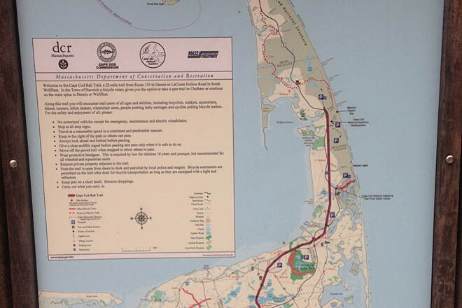 Cape Cod Rail Trail Map of the entire trail. South Dennis, MA.