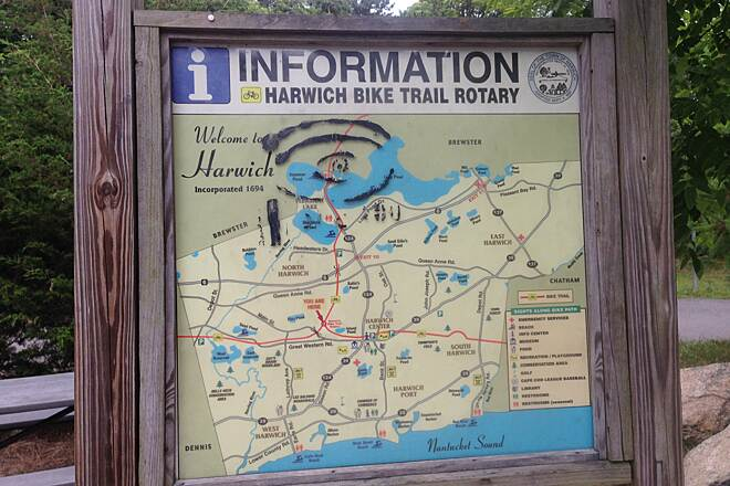 Cape Cod Rail Trail Harwich Rotary Map at the Harwich Bike Trail Rotary.