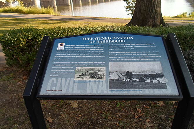 Capital Area Greenbelt Capital Area Greenbelt Another interpretive historical sign on the Harrisburg riverfront, this one commemorates the city's role in the Civil War and how it was the ultimate target of the Confederate Invasion routed at Gettysburg.