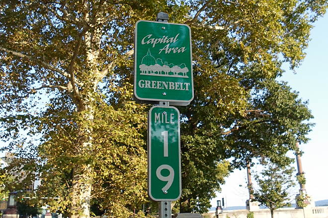 Capital Area Greenbelt Capital Area Greenbelt Sign and mile marker near the junction with the Walnut Street Bridge. Taken Aug. 2015.