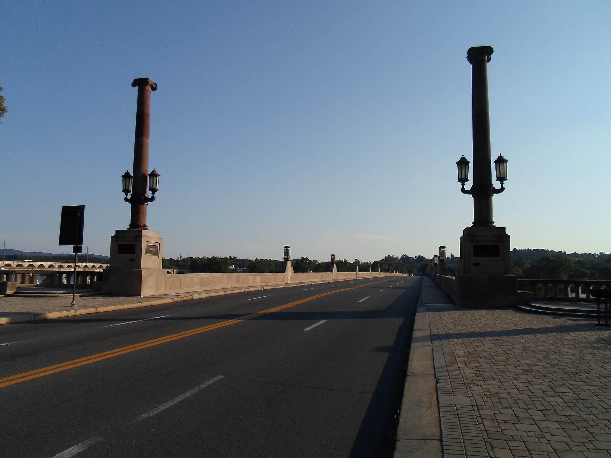 Capital Area Greenbelt Capital Area Greenbelt Neo-classical columns at the eastern approach to the Market Street Bridge, as seen from the greenbelt. Taken Aug. 2015.