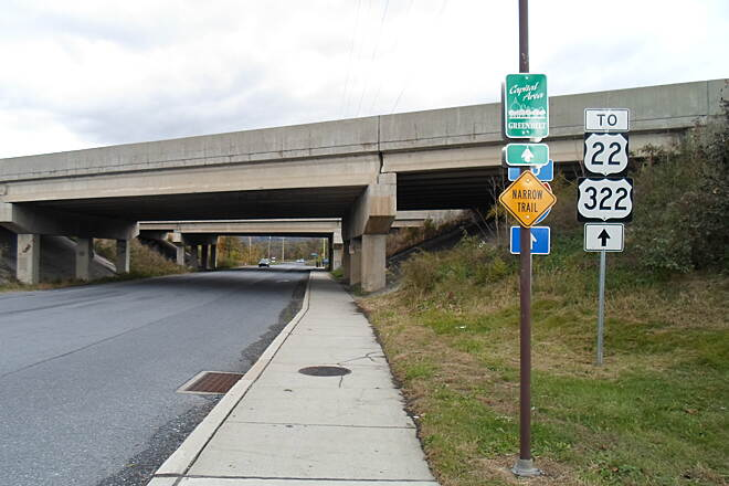 Capital Area Greenbelt Capital Area Greenbelt The sidewalk along Industrial Road serves as the trail beneath the I-81 underpass north of the city.