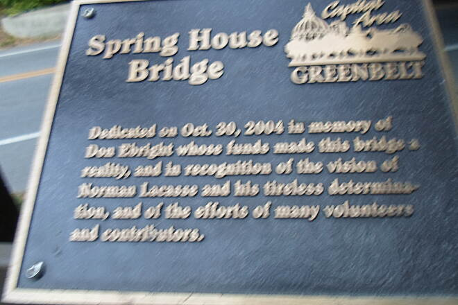 Capital Area Greenbelt Capital Area Greenbelt Plaque giving the history of Spring House Bridge, which carries the trail across Spring Creek and under I-83 south of Paxtang.