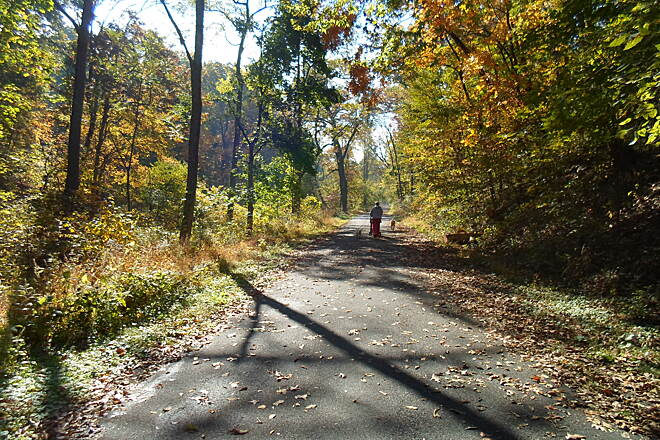 Capital Area Greenbelt Capital Area Greenbelt Woman, her grandbaby (in stroller) and dogs enjoying the trail near Paxtang.
