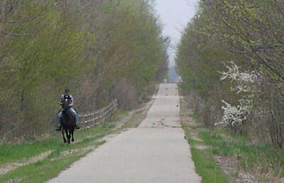 Cardinal Greenway Equestrian Compatible South of Muncie A long stretch of the trail south of Muncie allows horseback riding.  The horseback trail then ties into the nearby Prairie Creek Reservoir area.